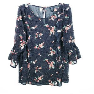 Torrid Black Floral Ruffle Smocked Bell Sleeve Top